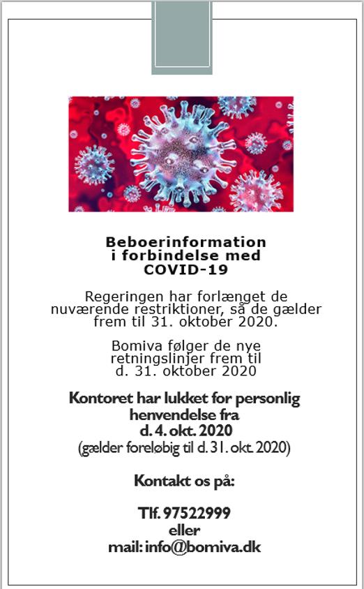 Corona Restriktioner Forlaenges Til D 31 10 2020 Bomiva
